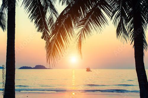 Foto op Aluminium Oranje Beautiful sunset at tropical sea coast.