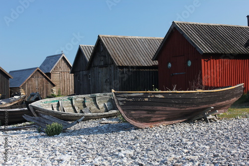 Photo  Old fisherman boats at Gotland