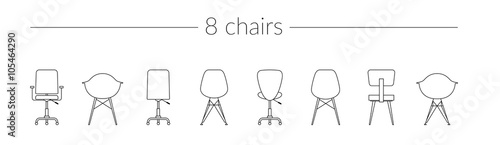 Fotografie, Obraz  Vector Thin Line Icon Set Chairs