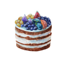 Cake In A Rustic Style With Fruit. Isolated. Watercolor