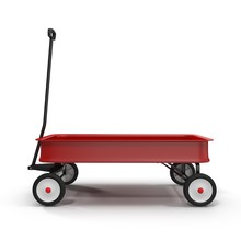 Childs Red Wagon On White Back...