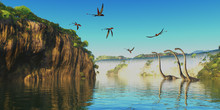 Dimorphodon And Omeisaurus Dinosaurs - Omeisaurus Herbivorous Sauropod Dinosaurs Wade Through A River Below A Waterfall As Dimorphodon Flying Reptiles Fly Overhead.