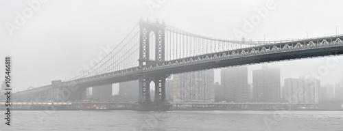 Manhattan Bridge in a fog.