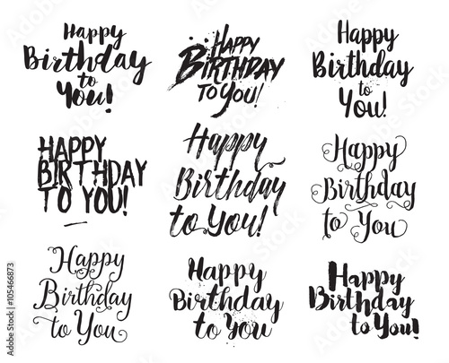 Photo  Happy Birthday to You inscriptions set