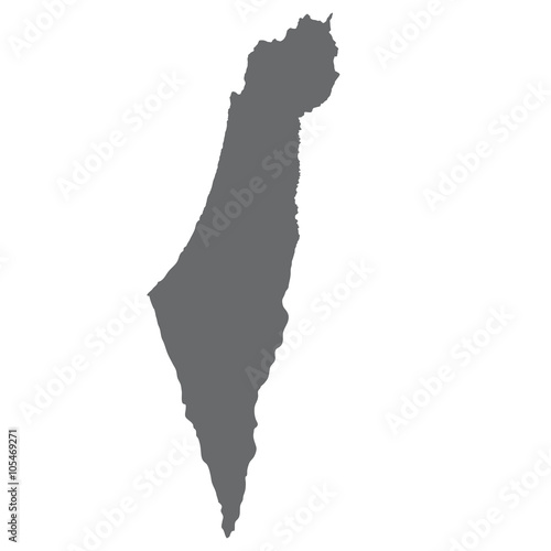 Israel map in gray on a white background Fototapete