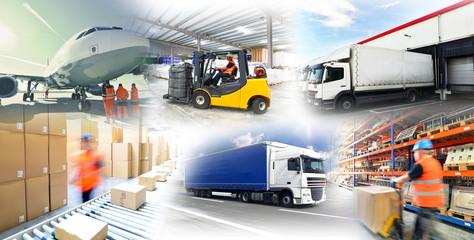 Fototapeta Warenlagerung und Gütertransport // logistics and shipping