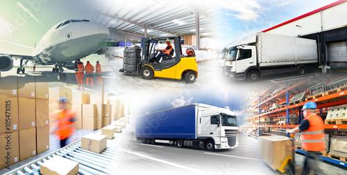 Fotografiet  Warenlagerung und Gütertransport //  logistics and shipping