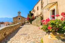 Typical Church In Small Corsican Village Of Sant' Antonino, Corsica, France