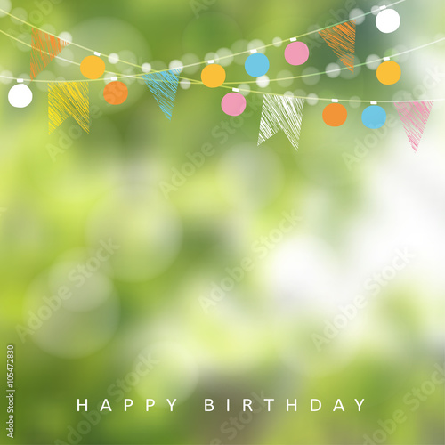 Obraz Birthday garden party or Brazilian june party, vector illustration with garland of lights, party flags, blurred background - fototapety do salonu