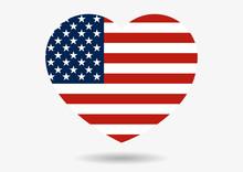 Illustration Of USA Flag In He...