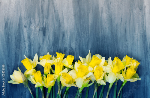 Photo Colorful Easter eggs and spring daffodils on paper background