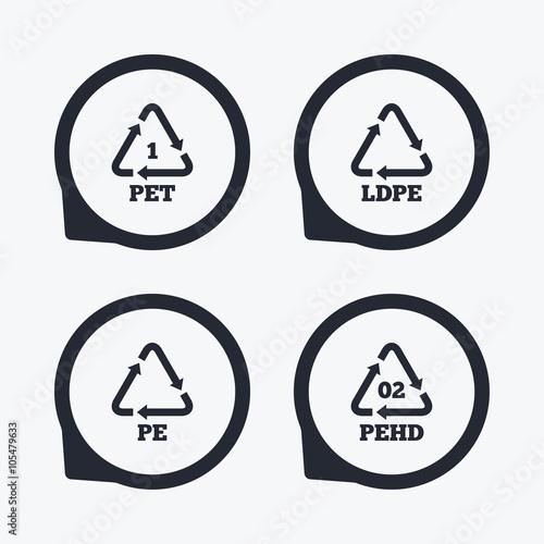 Photo  PET, Ld-pe and Hd-pe. Polyethylene terephthalate
