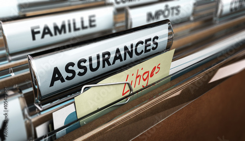 Valokuvatapetti Dossier litiges ou contentieux d'assurance, image 3D