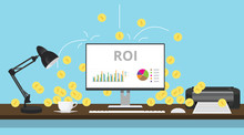 Roi Return On Investment With Graph And Gold Coin