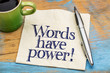 canvas print picture - Words have power - napkin note