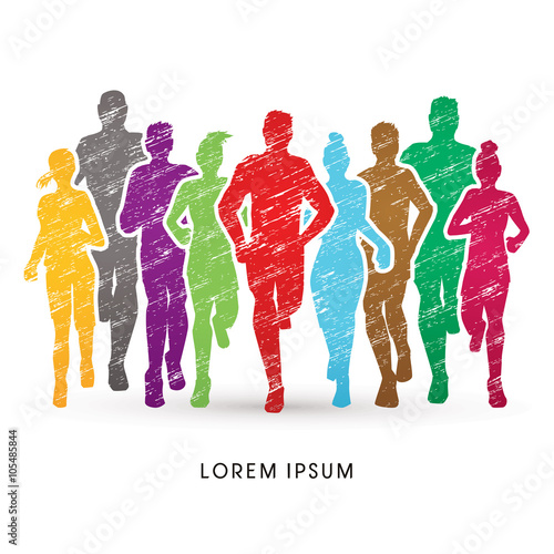 Fotografie, Obraz  Marathon Runners, designed using colorful grunge brush graphic vector