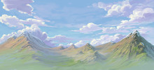 Far Mountain Painted For Illustration