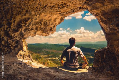 Poster Marron chocolat Cave meditation