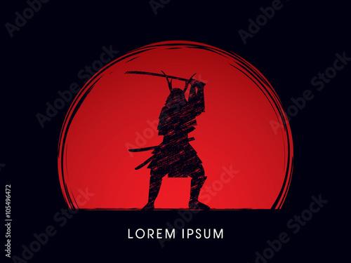 Carta da parati Samurai Warrior with sword, designed using grunge brush on sunset or sunrise background graphic vector