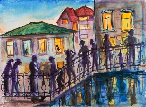 In de dag Illustratie Parijs People in twilight