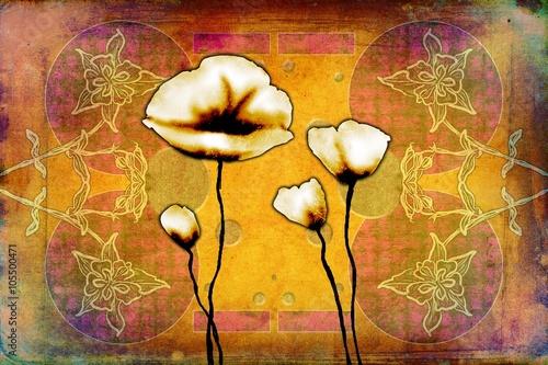 Garden Poster Pink abstraction flower art illustration