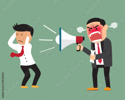 Fotografija  Angry boss shouting at employee on megaphone vector illustration