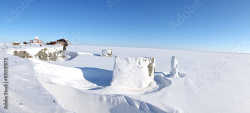 Panoramic view of abandoned polar station on an isolated Vize Island (Wiese) island located in the Arctic Ocean at the northern end of the Kara Sea