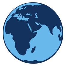 Vector Single Icon - Blue Globe