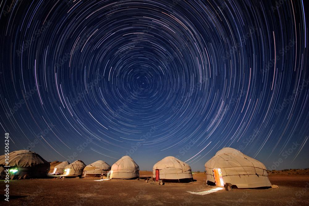 Yurts in the desert Kyzylkum