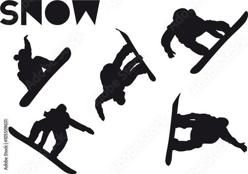 Photo  Druck Snowboarder jump set
