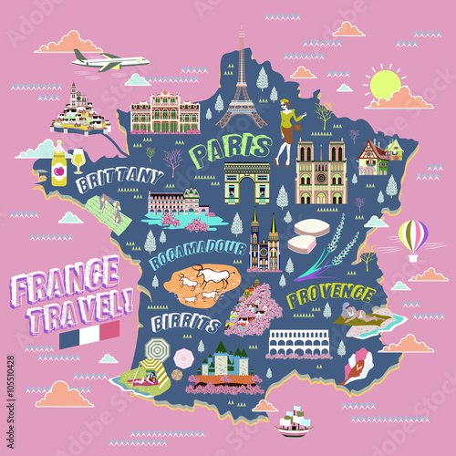 France travel map Canvas Print