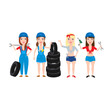 auto car mechanic women girls set.mechanic woman in uniform with tools wrench tires drill isolated on white background.car service workers concept illustration.