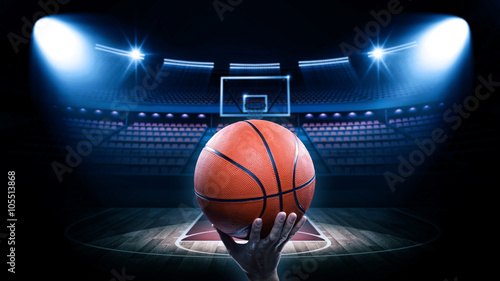 Basketball arena with player Wallpaper Mural