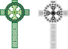 Celtic Cross With Ornaments, Abstract Vector Illustration.