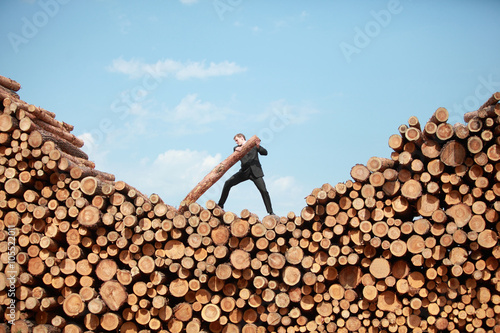 Fotografia  business vision - hardworking businessman on top of large pile of cut wooden log