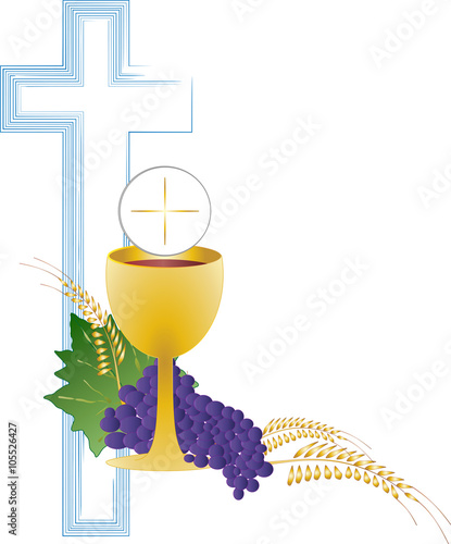 Eucharist Symbol Of Bread And Wine Chalice And Host With Wheat