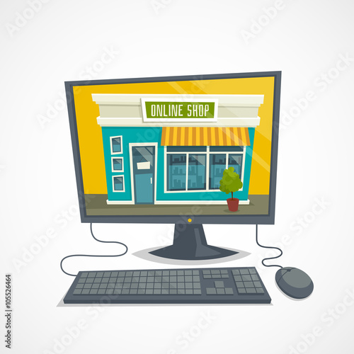 4ab3e45e08b Online shop concept with computer shop building, computer mouse and keyboard,  vector cartoon illustration