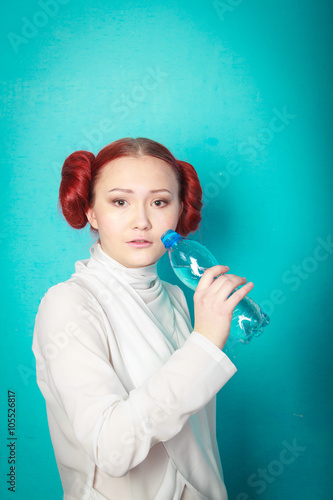 beautiful girl Leia Organa Solo with a bottle of water Wallpaper Mural
