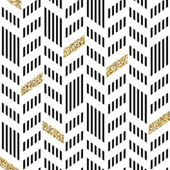 Panel SzklanySeamless Chevron Pattern. With Glittering Gold and thin lines