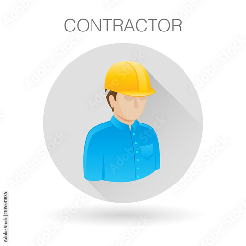 Building Contractor Icon Professional With Hardhat Symbol Construction Engineer Sign Building Contractor Profile Icon On Light Gray Circle Background Vector Illustration Buy This Stock Vector And Explore Similar Vectors At Adobe