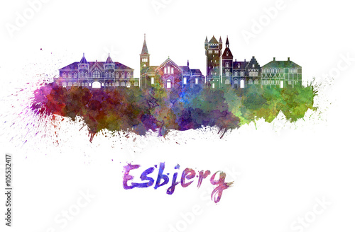 Esbjerg skyline in watercolor Poster