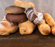 Stack of bagels and french bread