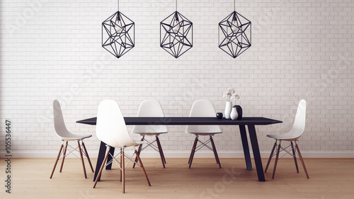 Pinturas sobre lienzo  Simple of Working and Dining set Modern / 3D render image