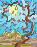 Illustration in stained glass style with the cherry blossoms on a background of mountains, sky and sun