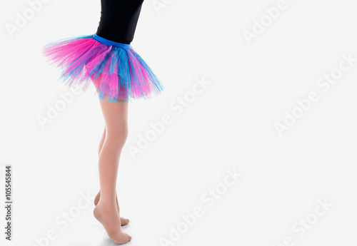 Fotografie, Obraz  Little Ballerina in tutu on a white studio background