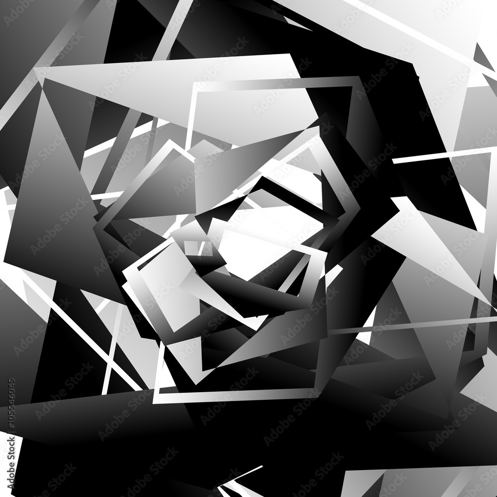 Monochrome geometric contemporary art piece. Grayscale abstract