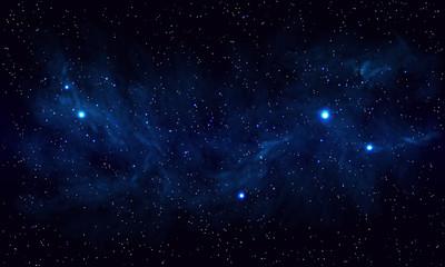 Piękna przestrzeń z niebieską mgławicą, realistyczny wektor - EPS 10
