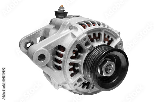 Photo new electric car alternator on a white background