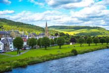 Panorama Of Peebles With The River Tweed,  Scotland, UK