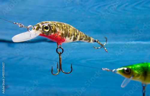 Fotografía  Handmade wobblers. Spinning bait for fishing.